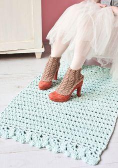 Virkattu matto SK 3/13 Crochet Carpet, Crochet Home, Free Crochet, Knit Crochet, T Shirt Yarn, Crochet Patterns, Crochet Ideas, Home Textile, Handicraft
