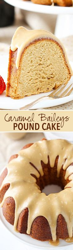 Caramel Baileys Pound Cake - soft, moist and full of Baileys and caramel flavor! I'm in love!