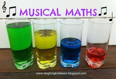 Musical Maths - coloured water glasses