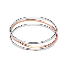 20/20 Sterling Silver & 18kt Rose Gold 3 Loop Bangle from Links of London | Bracelets for women
