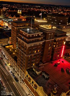 A northwest view from the roof of the Davenport Hotel Tower in Spokane's downtown.