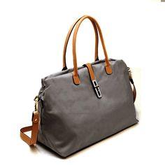 AmazonSmile: Large Silver Fever® Travel Tote Carry All Nylon Leather Handbag (Burgundy): Clothing