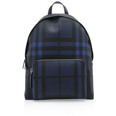 Burberry London Check Collection Abbeydale Simple Backpack ($770) ❤ liked on Polyvore featuring men's fashion, men's bags, men's backpacks, blue, mens leather backpack, mens one strap backpack and burberry mens backpack