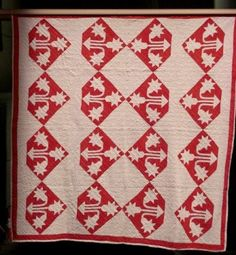 Selvage Blog: Red and White Pieced Quilts, Carolina Lily variation.