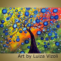 Original XXL Large Painting Tree Landscape Colorful Circles RAINY SUMMER Art by Luiza Vizoli 48x36 single canvas