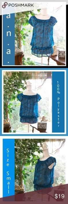 A.N.A. Blouse ❤️Blue and black random pattern  ❤️👁️🗨️👁️🗨️👁️🗨️Excellent like new condition  ❤️Semi-Sheer material  ❤️Brand, size, and fabric info in pics  ❤️Elastic waistband  ❤️Capped sleeves  ❤️Front ruching/ gather detail at chest a.n.a Tops Blouses