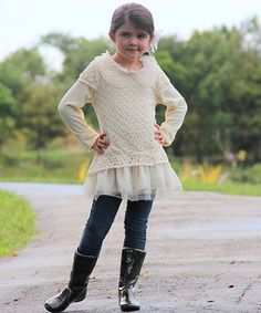 Save Now on this Crème Crocheted Collar Ruffle Tunic - Toddler & Girls by Mia Belle Baby on #zulily today!