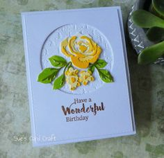 ideas birthday greetings for women cute cards Birthday Greetings For Women, Happy Birthday Cards, Altenew Cards, 3d Rose, Yellow Flowers, Exotic Flowers, Cut Flowers, Cute Cards, Easy Cards