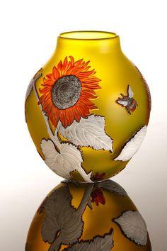Helen Millard Cameo Glass Sunflower Vase