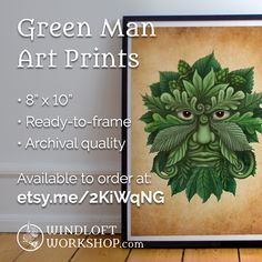 """Green Man 8"""" x 10"""" Archival Art Prints are now available for sale in my shop  Bring a little green into your world!"""