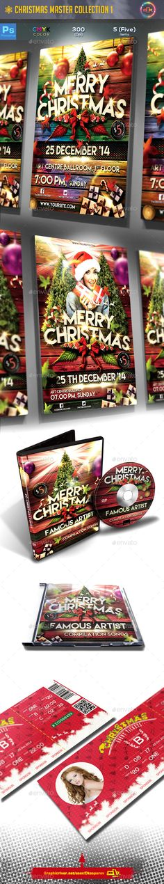 5 in 1 Christmas Master Collection Saving 5 items worth of files total $29Template Info2 Christmas Flyer Dvd Cover Template Cd Cover Template Christmas Event Ticket Print Ready 3 mm bleed at High resolution (300 dpi CMYK) Photo Replace Read me fileIndividu