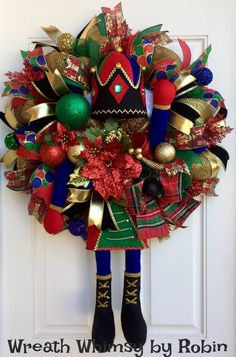 Deco Mesh Holiday Nutcracker Wreath in Red Gold Green &