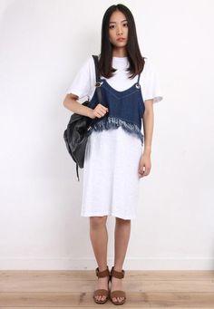 2-Piece Denim Vest & T-Dress