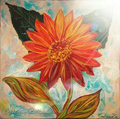 Sunflower icy blues by ArtByCalzada on Etsy