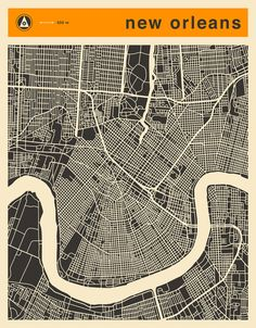 Poster | NEW ORLEANS MAP von Jazzberry Blue | more posters at http://moreposter.de