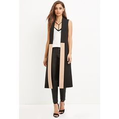 Forever 21 Colorblocked Longline Vest ($35) ❤ liked on Polyvore featuring outerwear, vests, vest waistcoat, longline vest, white vest, lapel vest and white waistcoat
