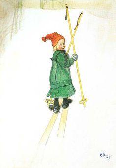 Esbjorn On Skis by Carl Larsson.