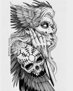Skull Tattoo Design, Tattoo Sleeve Designs, Skull Tattoos, Sleeve Tattoos, Viking Tattoo Design, Norse Tattoo, Viking Tattoos, Tattoo Sketches, Tattoo Drawings