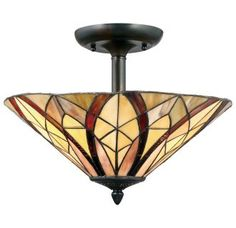 """View the Quoizel TFVY1716 Victory 2 Light 16"""" Wide Semi Flush Ceiling Fixture with Glass Cone Shade at LightingDirect.com."""