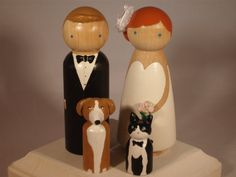 Custom Wedding Cake Toppers with Two Pets by IttyBittyWoodShoppe, $76.00