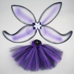 Purple & black tutu skirt w/ wings