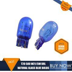 2 개 T20 전구 자연 유리 블루 7443 580 W21/5 와트 DRL 전구 더블 필라멘트 W3 * 16q 슈퍼 화이트 복스 홀 아스트라 J Polarg M13
