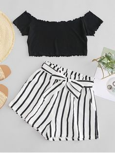 ZAFUL Off Shoulder Top And Stripes Shorts Set A site with wide selection of trendy fashion style women's clothing, especially swimwear in all kinds which costs at an affordable price. Girls Fashion Clothes, Teen Fashion Outfits, Mode Outfits, Outfits For Teens, Girl Fashion, Girl Outfits, Clothes For Women, Trendy Fashion, Preteen Fashion