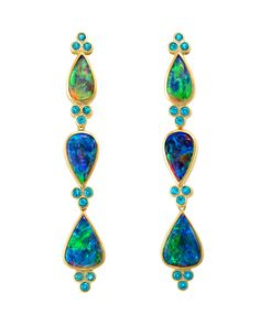 Opal earrings in yellow gold with Apatite by Paula Crevohay