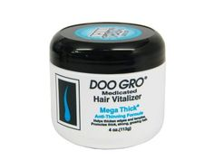 Doo Gro Medicated Hair Vitalizer, Mega Thick Anti Thinning Formula, 4 oz. by Doo Gro. $7.50. Safe on relaxed, color-treated and natural hair. Safe on braided and weaved hair. Great for all ages, including children. Enriched with oat protein, oat extract, shea butter, Vitamin A,D Helps thicken thinning edges and temple area. Helps thinning edges and temples. Promotes thick, strong, growing hair. Doo Gro Medicated Hair Vitalizer Mega Thick Anti-Thinning Formula h...