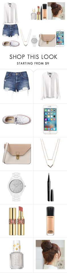 """""""Untitled #462"""" by kalieh092 on Polyvore featuring Topshop, Converse, 8, Michael Kors, MICHAEL Michael Kors, Marc Jacobs, Yves Saint Laurent, MAC Cosmetics, Essie and Pin Show"""