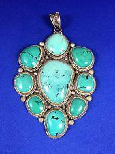 Nepalese Sterling Silver Lapis Lazuli Dragon Skin Turquoise Pendant | eBay