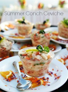 Top Chefs The Best Summer Dishes Yummm Ceviche Recipe Conch Hcg Diet Recipes, Mexican Food Recipes, Cooking Recipes, Seafood Appetizers, Appetizer Recipes, Seafood Salad, Seafood Dishes, Conch Recipes, Gastronomia