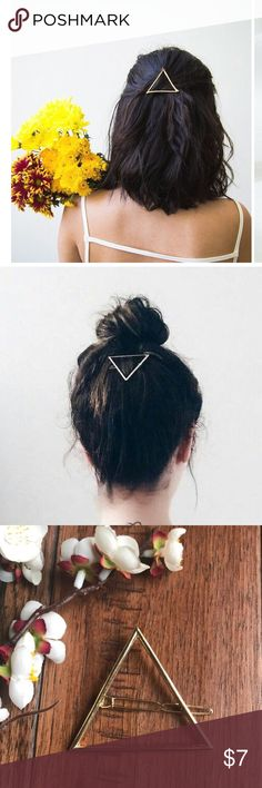 Pair of Triangle Hair Clips One silver color and other is a light gold (not as bright as in the pictures). Perfect condition and super cute! My hair is way too fine and thick for these to stay on, but I think they would be perfect for someone that likes hair accessories/jewelry! Let me know if there are questions. Bundle to save even more! Thanks for looking! Xoxo Amanda Accessories Hair Accessories