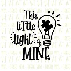 Excited to share this item from my shop: This Little Light of Mine SVG, Studio File Autism Awareness Crafts, Silhouette Studio, Svg File, Cutting Files, Cricut, Bullet Journals, How To Plan, Car Decals, Rock Painting