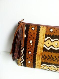 Mudcloth Clutch Purse African Mud Cloth Fabric by BelleHattie, $70.00
