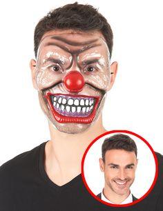 Máscara payaso terrorífico transparente adulto: Esta máscara de plástico para…
