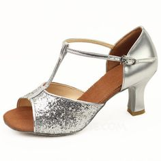 Dance Shoes - $18.99 - Women's Sparkling Glitter Heels Latin Ballroom With T-Strap Dance Shoes (053011481) http://jjshouse.com/Women-S-Sparkling-Glitter-Heels-Latin-Ballroom-With-T-Strap-Dance-Shoes-053011481-g11481