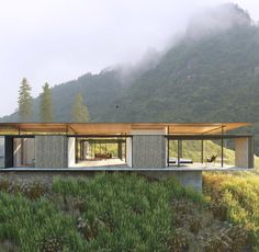 landscape architecture - Elevation of proposed Courtyard House showing operable bamboo screens Huangshan China Perspective Architecture, Architecture Résidentielle, Casas Containers, Courtyard House, Modern House Design, Exterior Design, Villa, Houses, Log Homes