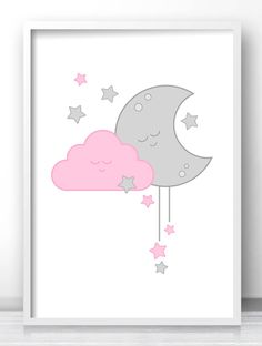 Pink And Gray Girl Nursery Print, Baby Girl Nursery Wall Art, Baby Wall Art, Girls Room Print, Moon And Stars Nursery Decor, Pink Cloud Art