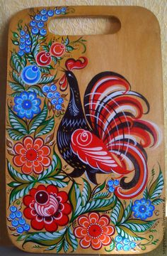 Polish Folk Art, Painting Templates, Russian Folk Art, Truck Art, Painted Boards, Traditional Paintings, Naive Art, Native American Art, Rooster