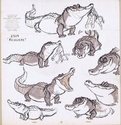 Oh man I love Milt's alligator drawings! || CHARACTER DESIGN REFERENCES | Find more at https://www.facebook.com/CharacterDesignReferences if you're looking for: #line #art #character #design #model #sheet #illustration #best #concept #animation #drawing #archive #library #reference #anatomy #traditional #draw #development #artist #how #to #tutorial #conceptart #modelsheet #animal #animals