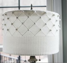 DIY Sweater lampshade -- wow, i've gotta find a sweater that looks like that!