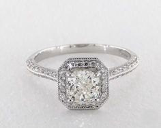 1.2ct Cushion Halo Engagement Ring in White Gold - See it in 360 HD SuperZoom!