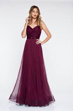 Rochie Ana Radu mov de lux tip corset din tul captusita pe interior Prom Dresses, Formal Dresses, One Shoulder, Interior, Outfits, Fashion, Tulle, Dresses For Formal, Moda