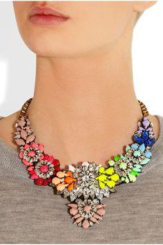Shourouk|Apolonia Rainbow Swarovksi crystal and PVC necklace|NET-A-PORTER.COM