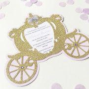 Carriage-invitation-gold-and-purple-side Cinderella Cupcakes, Gold Invitations, Purple, Birthday, Gold Save The Dates, Birthdays, Viola, Dirt Bike Birthday, Birth Day