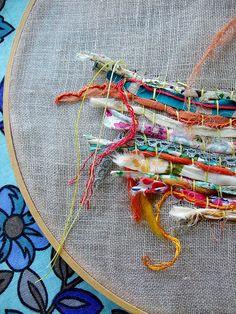 An alternative to loom weaving. Weaving on fabric. Art Fibres Textiles, Textile Fiber Art, Sewing Art, Sewing Crafts, Embroidery Art, Embroidery Stitches, Techniques Textiles, Textile Manipulation, Fabric Manipulation Techniques