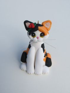 Polymer Clay Christmas Ornament Calico Cat Personalized Figurine