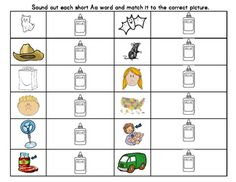 Short A Activity Pack phonics phonemic awareness 10 Activities CVC (short Aa) word list to practice reading with speed and accuracyNonsense Word list (short Aa) to practice reading with speed and accuracyIdentifying Telling vs. Asking sentences Identifying Complete or incomplete sentencesWriting Short Aa wordsRead the Short Aa words and draw a line to the matching pictureIdentifying  Nouns in a sentenceRead the sentences and find the matching pictures3 stories (below, on, high)