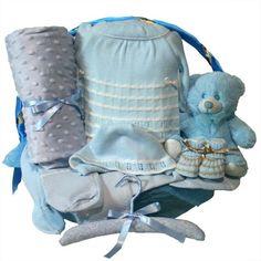 """Canastilla recién nacido """"Clásica Óptima"""" azul, singular regalo y muy práctico para los nuevos padres."""
